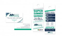 ABs General Contracting LLC. business card and doorhanger design by John Webb Designs