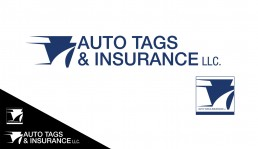 Auto Tags & Insurance LLC. brand mark and diffierent logo applications by John Webb Designs