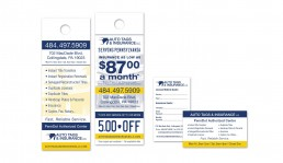 Auto Tags & Insurance LLC. business card and doorhanger design by John Webb Designs