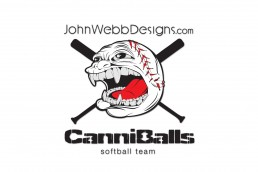 JWD CanniBalls softball illustration for Prostate Cancer Awareness Tournament by John Webb Designs