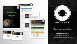 Macquarie Conference brand theme poster, booklet, name badges, agenda By John Webb