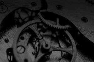 main image, macrophoto of clock gears
